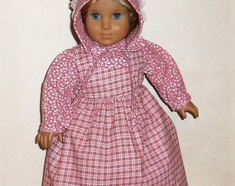 Pink Prairie Dress, 18 Inch Doll, Plaid Pinafore Apron, Sun Bonnet, Historical Costume, Pioneer Outfit, American Made, Girl Doll Clothes