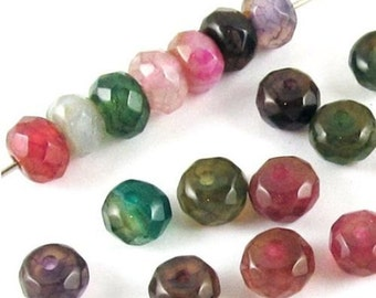 Faceted Rondelle Beads-Multi Color DRAGON VEIN AGATE 4x6mm (30)