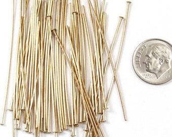 "TierraCast 21 Gauge BRASS Head Pins 2"" (50)"