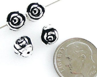 TierraCast Pewter Beads-ANTIQUE SILVER ROSE (4)