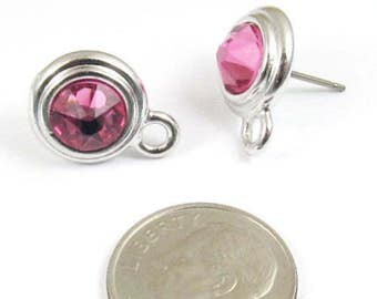 October Swarovski Crystal Birthstone Earring Posts-ROSE PINK & SILVER (1 Pair)