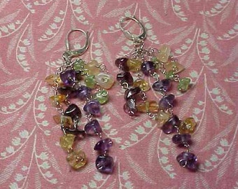 Vintage 925 Sterling Wire and Multi color Polished stone Dangle Pierced Earrings