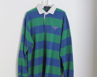 DOPE Vintage Polo Sport Ralph Lauren Striped Rugby Polo