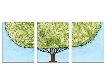 Boys Room Wall Decor Art - Tree Painting on Canvas Triptych - Green and Blue - Large 50x20