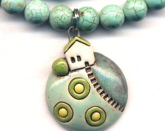 My Land House Necklace, Turquoise Necklace With House on top of the fields Ceramic Pendant, Unique Hill Top Cottage Necklace by Annaart72