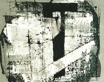 CONTEMPORARY abstract art, modern painting, black and white, FREE shipping, 24 x 24