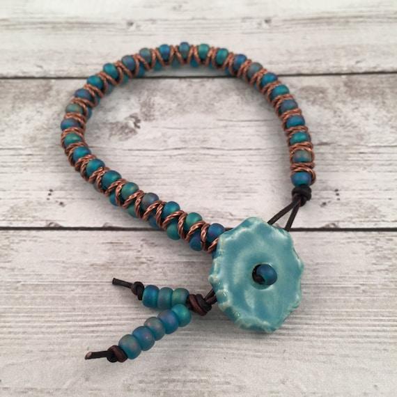 zig zag beaded leather friendship bracelet teal mermaid