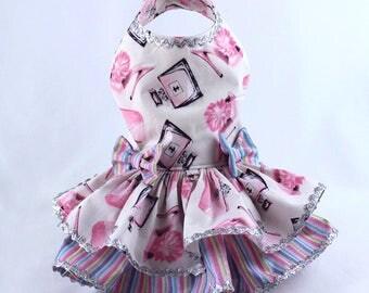Dog Dress, Dog Harness Dress, Dog Clothes for Small Dog, Ruffle Dress for Dogs, Summer Dress, Handmade Dress, Custom Dress, Pink, Perfume