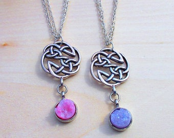 Silver Celtic Knot Druzy Necklace. Irish Jewelry. Celtic Jewelry.