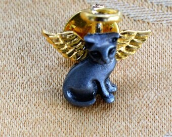Adorable Vintage Pewter-tone Cat Angel Tac Pin, Gold tone (W3)