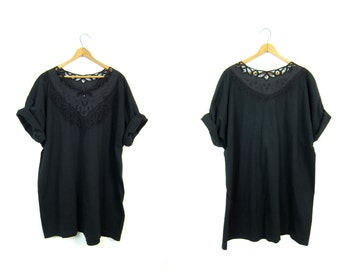 Oversized Black Tshirt 80s CUT WORK Tunic Top Crochet Mesh Bali Tshirt Boho Grunge Slouchy Cut Out Bohemian Tee Shirt Floral Womens 2XL XL