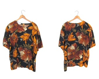 90s Rayon Blouse Printed Floral Top Boxy Short Sleeve Tee Flower Brocade Blouse Black Orange Green 1990s Preppy Boho Vintage Top Women Large