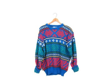 Retro Sweater Blue Red Graphic Print Knit Jumper Slouchy 80s pullover Crewneck Hipster Indie Girl Boyfriend Sweater Women's Medium Large