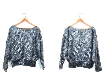 Vintage 80s Sequins Blouse Sheer SILVER Top Batwing Dolman Sleeves Party Holiday Top Shimmer Glam Metallic Disco Top Medium
