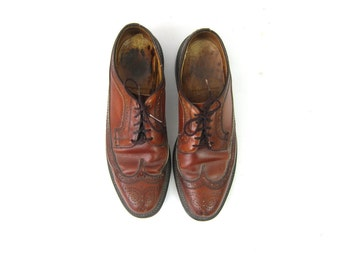 Brown Leather Men's Shoes lace up dress shoes Leather Oxfords Brogues Man's size 9.5 C
