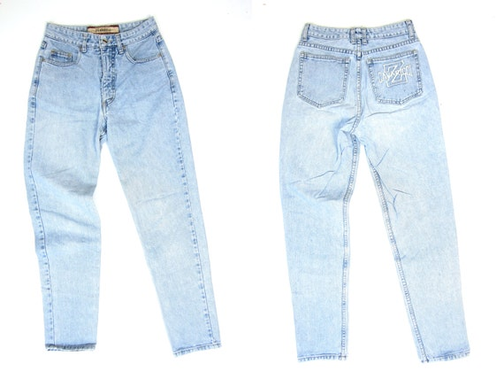 80s High Rise Jeans Washed Out Blue Jeans Straight Leg Mom Jeans Vintage 1980s Z Cavaricci Jeans High Waist Faded Blue Denim Womens Small XS