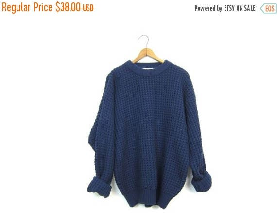 80s Oversized Navy Blue Sweater Chunky Knit Waffle Pullover Bulky Knit Sweater Preppy Basic Thick Knit Sweater Mens Large