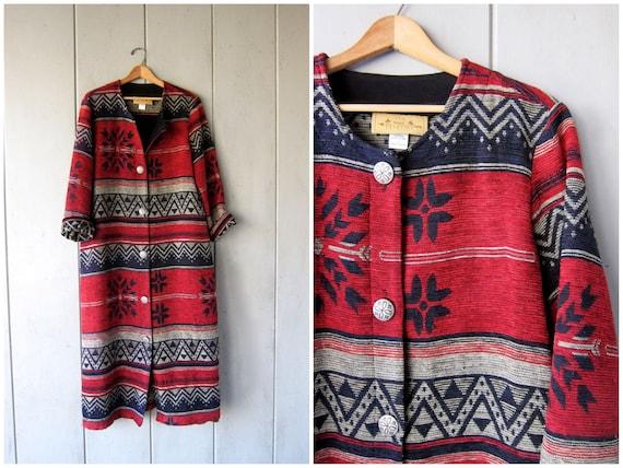 Long Boho Woven Sweater Coat Red Blue Tribal Print Southwestern Knit Button Up Cozy Blanket Coat Ethnic Bohemian Tribal DES Womens Large