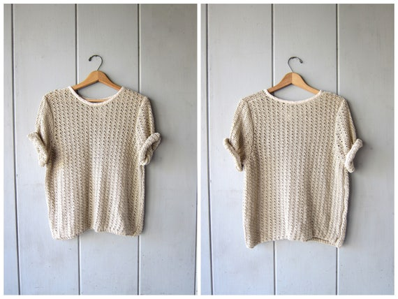 90s Open Knit Sweater Top Cut Out Knit Top SHEER Knit Crochet Shirt Top Vintage Minimal Spring Oatmeal Sweater Top Womens Medium Large