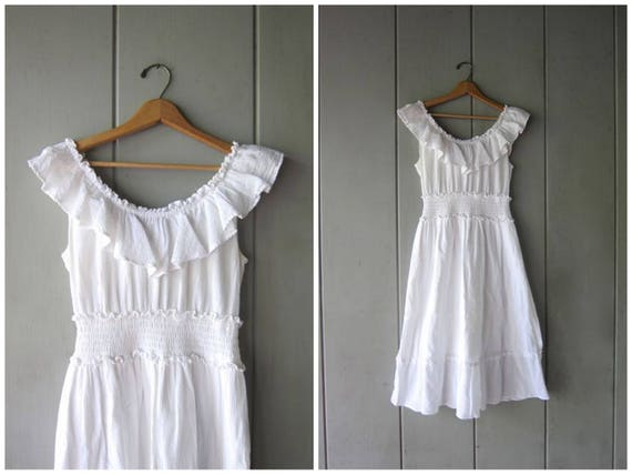 Vintage white cotton gauze dress Off the shoulder dress Long Cotton midi Boho Mexican dress Sleeveless Ruffled Dress Womens Small Medium
