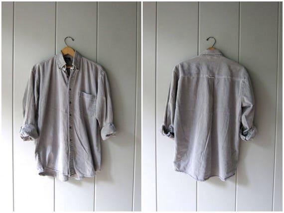 Vintage 90s Light Grey Jean Shirt Button Up Boyfriend Shirt Worn In Denim Shirt Washed Out Faded Gray Denim Shirt Slouchy Grunge Mens Medium