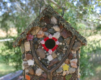 Birdhouse Functional Unique Birdhouse Colorful Stone Outdoor Hanging Bird Lovers Gift