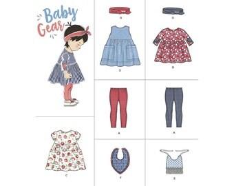 BABY GIRL PATTERN / Dress - Leggings - Headband - Bib - Top / Preemie to 18 Months