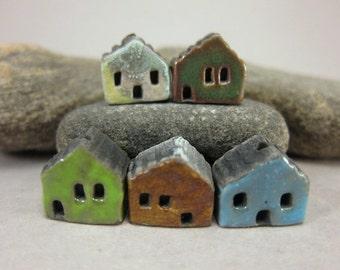 5 Saggar Fired Miniature House Beads...Copper Green Brown Blue