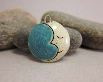 Crescent Moon.....Stoneware Pendant from elukka...Matte Turquoise & White