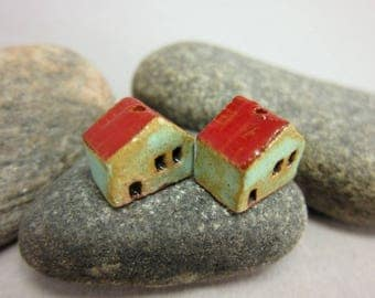 READY TO SHIP...Miniature Terracotta House Beads...Set of 2...Copper Patina/Red Roof