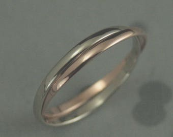 Double Rolling Ring~Two Tone Ring~1.5mm Bands~Double Roller Ring~Thin Rolling Ring~Stacking Rings~Russian Wedding Ring~Interlocking Rings