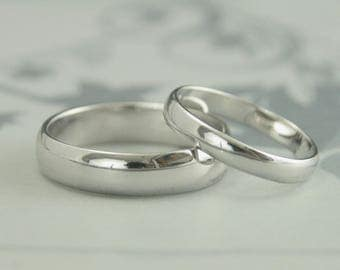 His & Hers Rings~White Gold Wedding Set~Simple Bands~5mm Ring~3mm Band~Men's Wedding Ring~Women's Wedding Band~Half Round Bands~Gold Rings