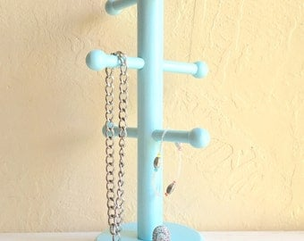 Light Bright Blue Wooden Coffee Mug Holder Tea Cup Rack Jewelry Hanger