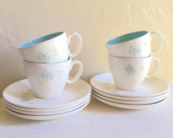 Vintage Taylor Boutonniere Ever Yours Tea Cup and Saucer Set for Four 4