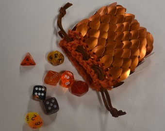 Scale Mail Dice Bag Dragonhide knitted Armor Orange small size