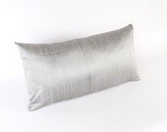 Grey Silk Lumbar Pillow - Small Silver Silk Pillow - Gray Silk Throw Pillow - Silver Gray Pillow - Shiny Gray Silk Pillow