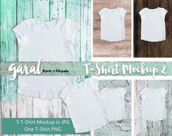 T-SHIRT MOCKUP with wood background, short sleeve shirt, png and jpg, white shirt, kids tshirt