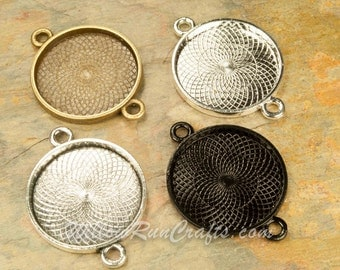 10 Pack 25mm Circle Pendant Trays Double Connector Bezel, Silver, Bronze, Black and Antique Silver, Blank Bezel Cabochon Setting