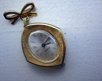 Vintage Pendant Watch - Wind Up/Mechanical  - Gold Bow - Works/Keeping Time.