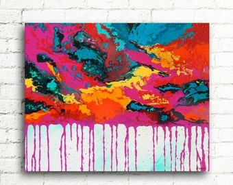 ON SALE Large Abstract Painting Modern Home Decor, Colorful Wall Art, Contemporary Art Wall Decor, Emotions 24x30