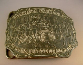 Collectible Vintage American Express Wells Butterfield Bronze Belt Buckle by Tiffany Studio New York