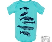 Baby One-Piece WHALES Eco screen printed (+ Color Options) FREE Shipping