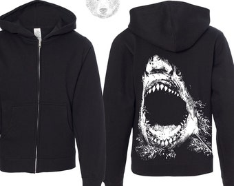 Kids SHARK Midweight Zip Hoodie Sweatshirt youth sizes - eco screen printed