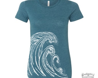 Womens WAVE t-shirt -hand screen printed s m l xl xxl (+ Colors Available)