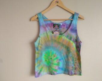 MEDIUM WOMEN'S Spiral Ice Dye Multi-Coloured Cropped Tank Top, women's medium soft bamboo jersey