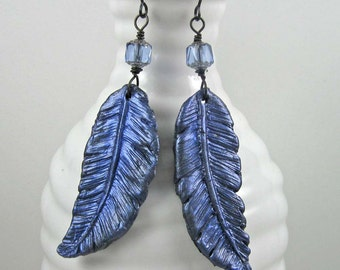 Raven Feather Earrings, iridescent blue black polymer clay dangles on black wires