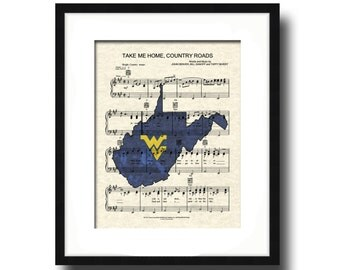 Take Me Home, Country Roads, WV Theme Song, West Virginia University Song Art, Sheet Music Art, John Denver Song Art Print