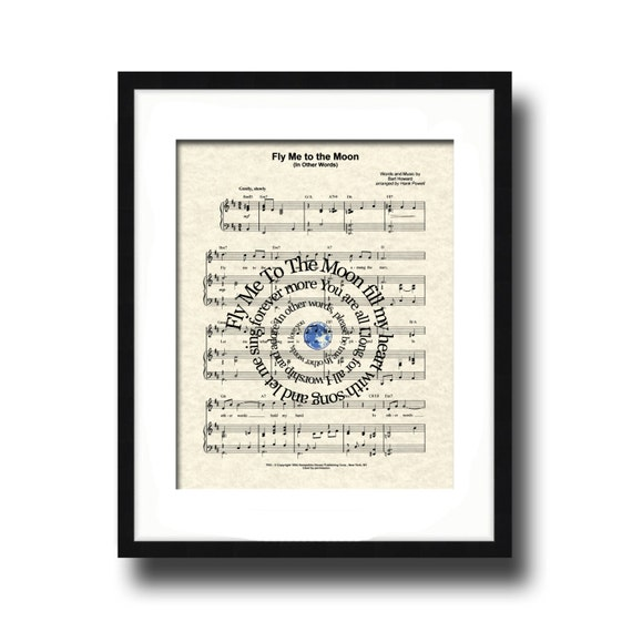 Dancing On My Own Sheet Music With Lyrics: Fly Me To The Moon Song Lyric Sheet Music Art By