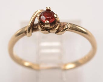 Early 1900's Ruby, 14kt Yellow Gold Ring - Size 5 1/4 - Love token,Engagement ring, July birthday