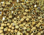 4mm Gold Alloy Metal Cornerless Cube Spacer Beads - Qty 50 (G159) SE